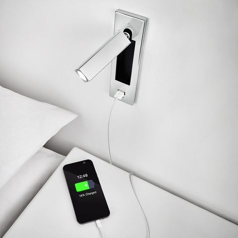 carregador usb iluminacao sconce da lampada de