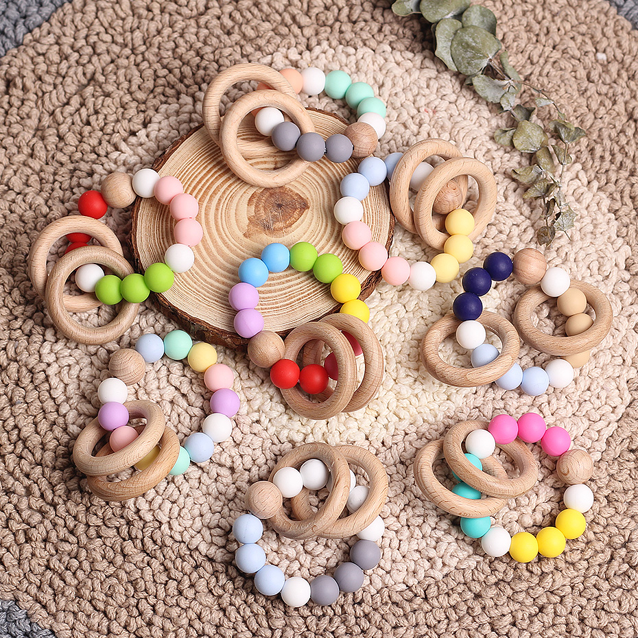 Wooden Rattle Teething Baby Toys Silicone Beads Beech Wood Ring Teething Silicone Beads 12mm Silicone Beads Baby Bed Rattle