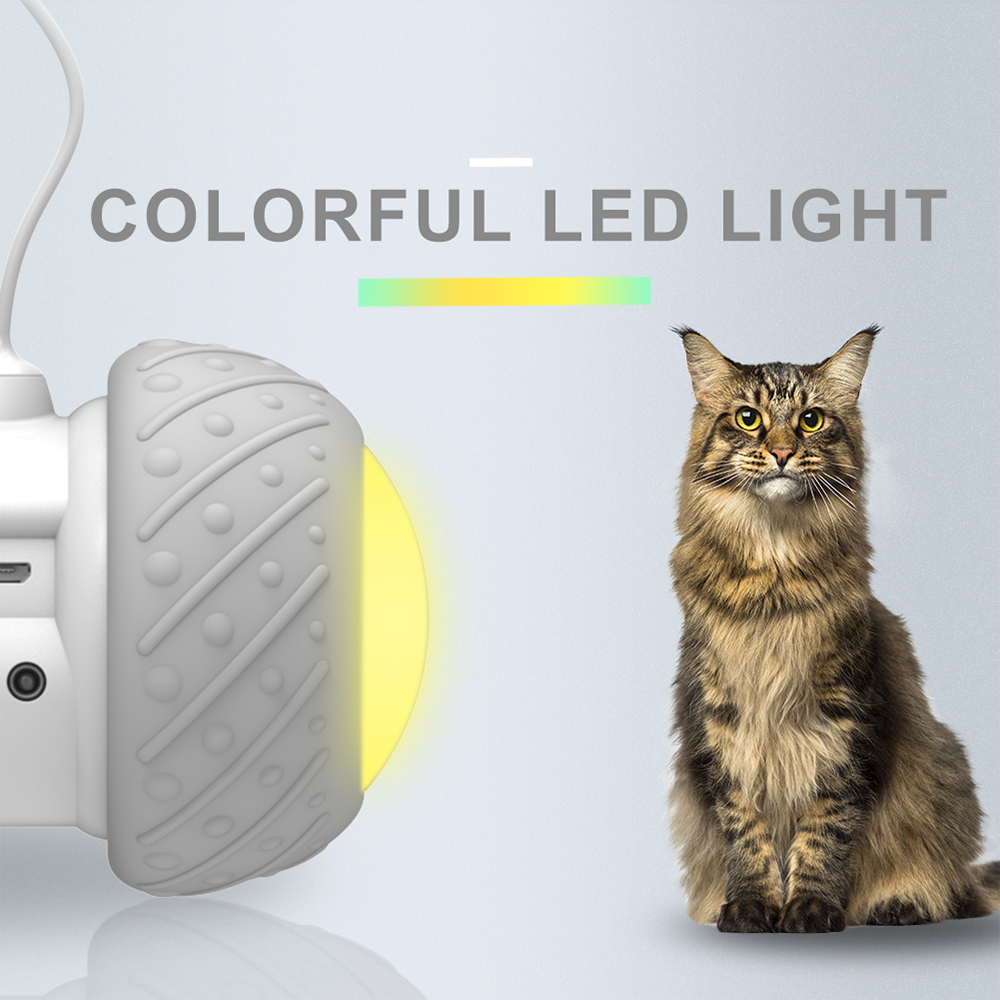 Electronic Smart Pet Toy and Automatic Obstacles Sensing Cat Teaser with LED Light and Wheels 8