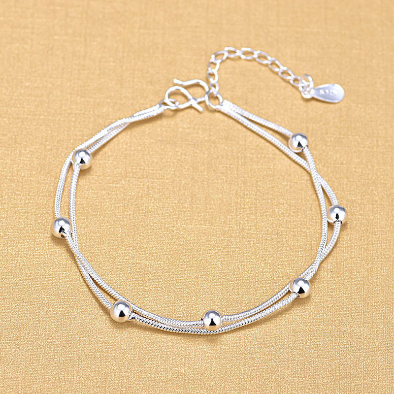 Ball Beads Bracelets Top Double Layered Snake Chain Bracelet For Women 925 Sterling Silver Jewelry Gifts