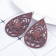 Wood Earrings brown Hollow Flower Pattern African Women Earrings Pendant arracadas de moda boucles d'oreilles femme jewelry