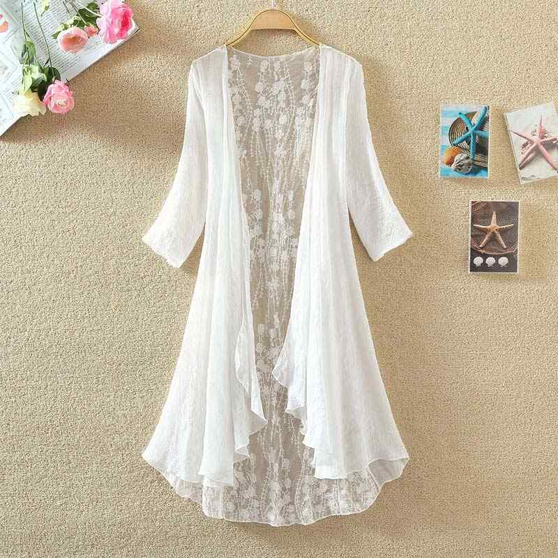 Women Chiffon Kimono Cardigan Lace Long Shirt Blouse Ruffles Hollow Out Loose Ladies Maxi Tops 2019 Spring Summer Blouses Female