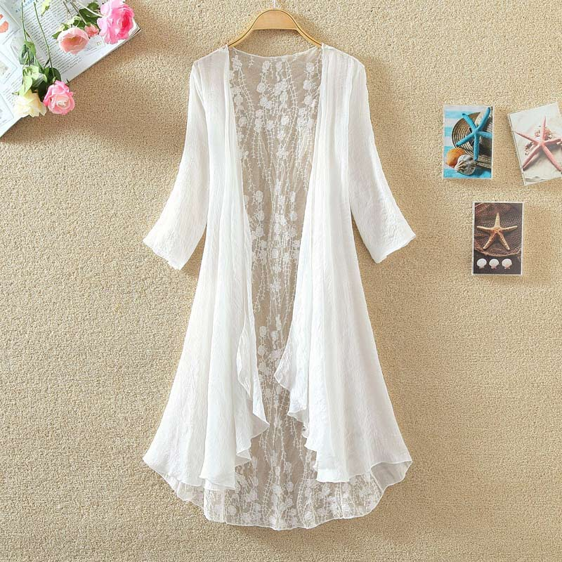 Women Chiffon Tunic Kimono Cardigan Lace Long Shirt Ruffles Hollow Out Loose Ladies Cardigans 2020 Spring Summer Shirts Female