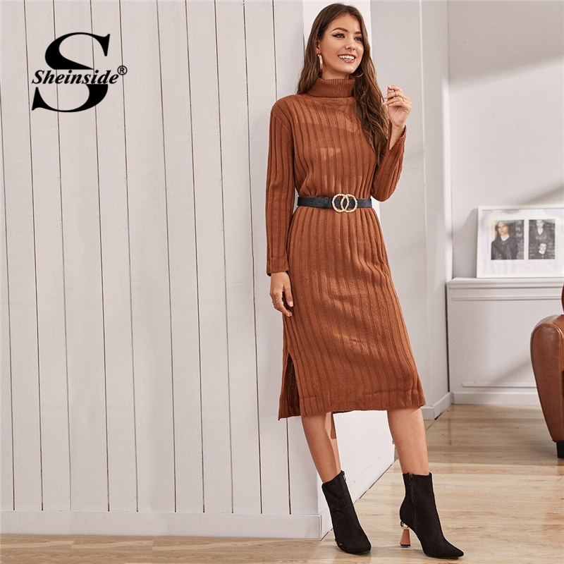 Sheinside Camel High Neck Sweater Dress With Belt Women 2019 Autumn Side Slit Detail Straight Dresses Ladies Solid Midi Dress SHEINSIDE Women Women's Sheinside Collection