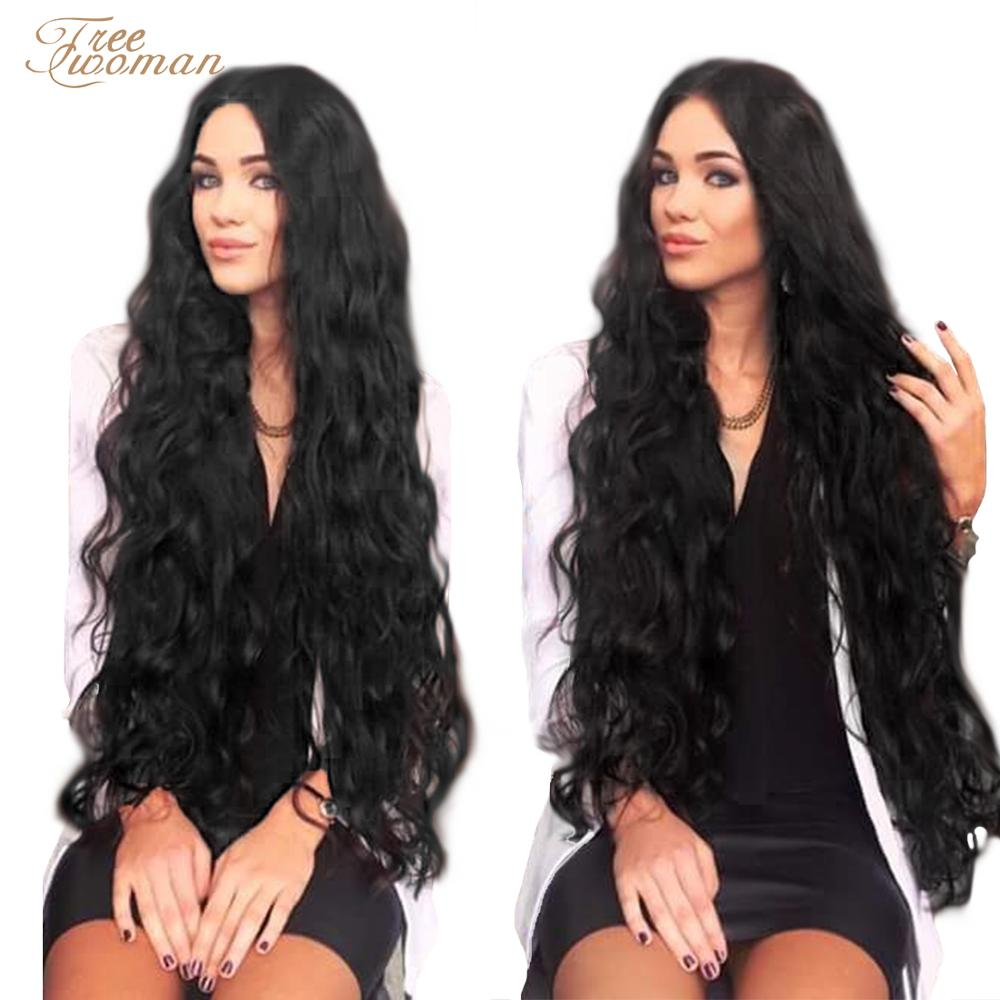 FREEWOMAN Synthetic Lace Wigs For Black Women Long Curly Hair 42 Inch Cosplay Ombre Lace Front Wig Synthetic Lace Front Wig