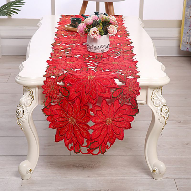 Embroidered Table Flag Christmas Element Beautiful Tablecloth Home Festival Decoration Romantic Wedding Table Decoration
