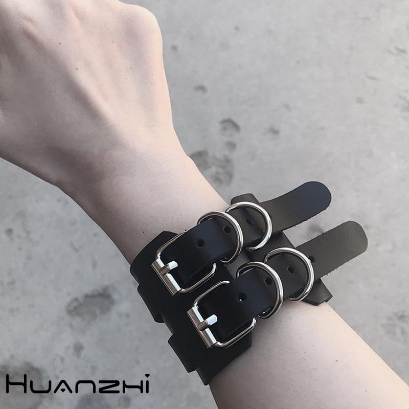 HUANZHI 2020 новый хип-хоп панк Винтажный простой кожаный Готический регулируемый ремешок браслет для женщин мужчин пара ювелирных изделий