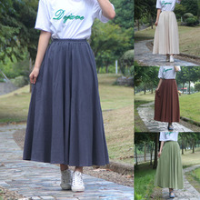 Casual Skirts Linen Elastic Vintage Cotton Women Ankle-Length Solid Empire Ladies