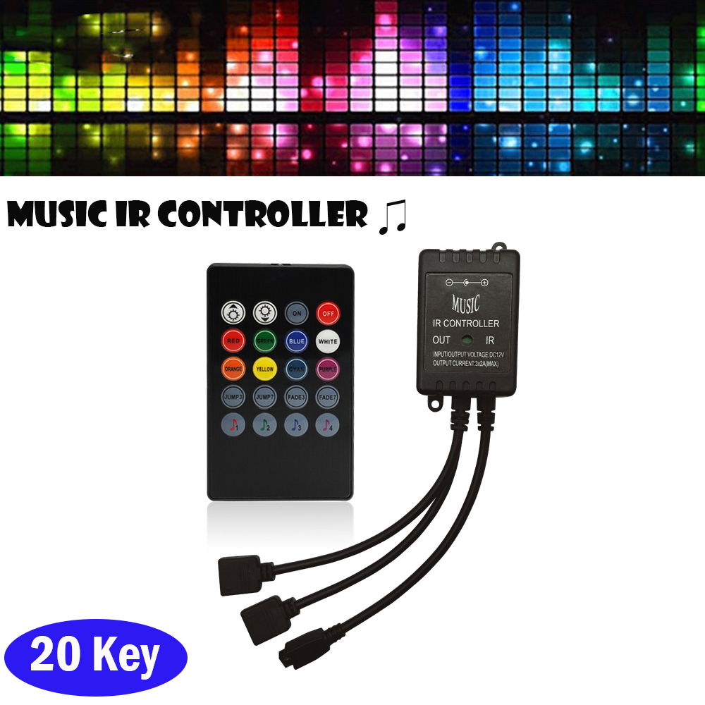 20 Key Music IR Controller Black Sound Sensor Remote DC 12V RGB Controller  For RGB LED Light Strip Connect 2 Led Strip