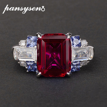 PANSYSEN Charms 100% 925 Sterling Silver 8x10mm created moissanite Ruby sapphire Gemstone Rings for women Wedding fine jewelry