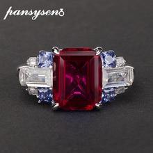 Pansysen Nieuwe Bedels 8X10Mm Ruby Sapphire Edelsteen Ringen Voor Vrouwen Luxe Bruiloft 100% 925 Sterling Zilveren Sieraden ring Maat 5 12