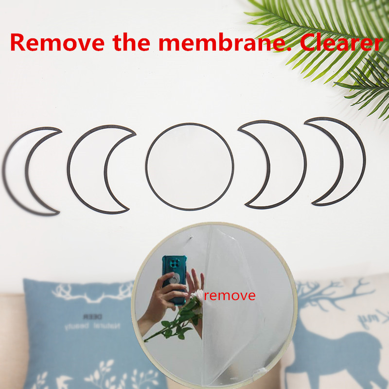 Scandinavian Natural Decor Acrylic Moonphase Mirrors Interior Design Wooden Moon Phase Mirror Bohemian Wall Decoration For Room 2