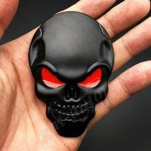 3D büyük siyah Metal kafatası iskelet kötü kemik araç amblemi rozeti çıkartma