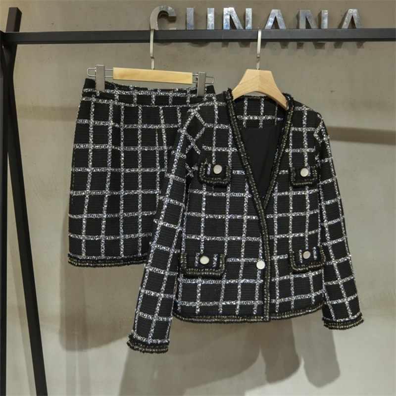 Marka projektant damska kurtka tweedowa zestawy Slim Fit Plaid Twill spódnica garnitur Conjuntos De Mujer stroje imprezowe OL odzież robocza zestawy