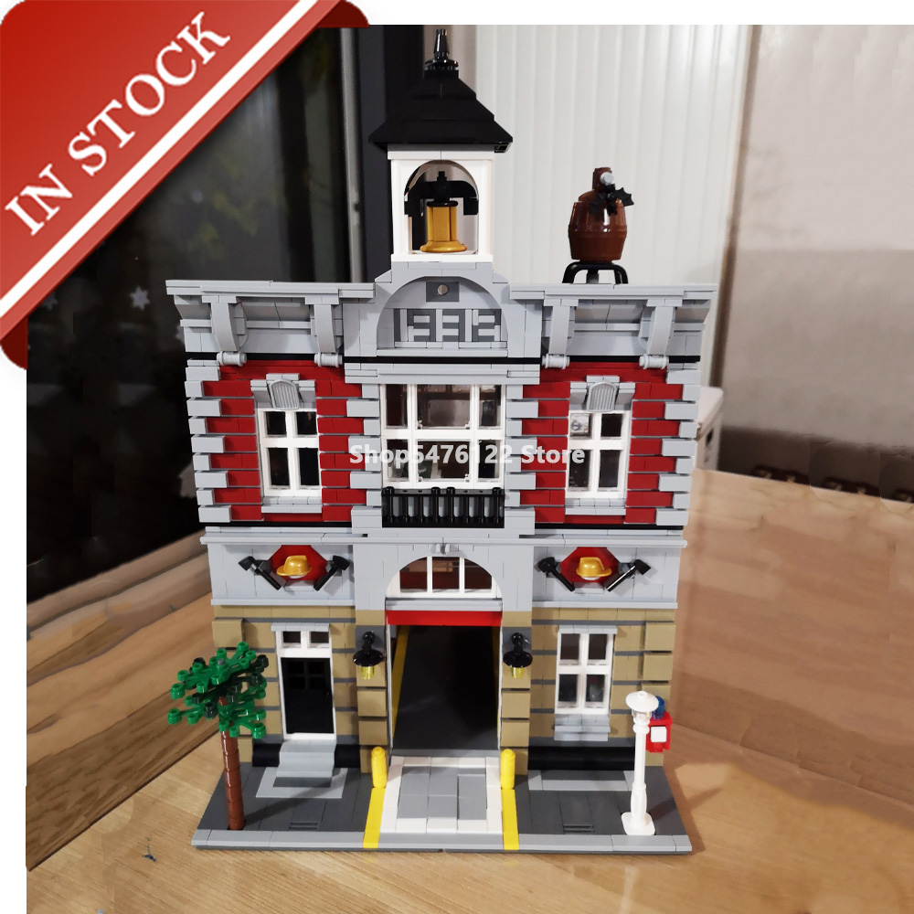 Street View Series Fire Brigade <font><b>10197</b></font> 15004 In Stock Building Blocks 2200+Pcs Creator Expert Construction Set Out Of Print image
