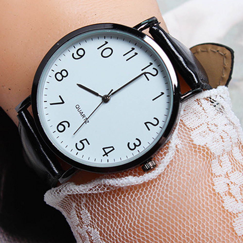 Fashion Women's Watch Arabic Number Unisex Strap Minimal Round Dial Classic Black Leather Strap Ladise Watches Wrist Watch