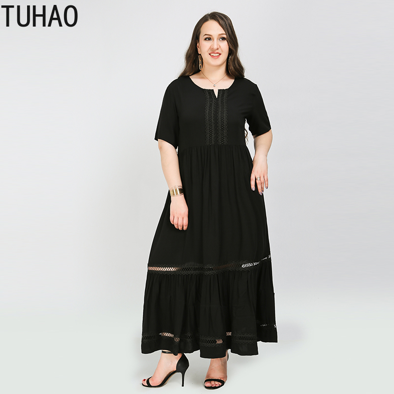 TUHAO 2020 Summer black casual dress plus size <font><b>8XL</b></font> <font><b>7XL</b></font> <font><b>6XL</b></font> female dresses hollow out woman party mother mom dress clothes WM68 image