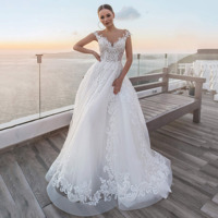 Tulle Wedding Dress New A Line Full Lace Appliques Bridal Gowns O Neck Sleeveless vestido de noiva Backless Floor Length Button