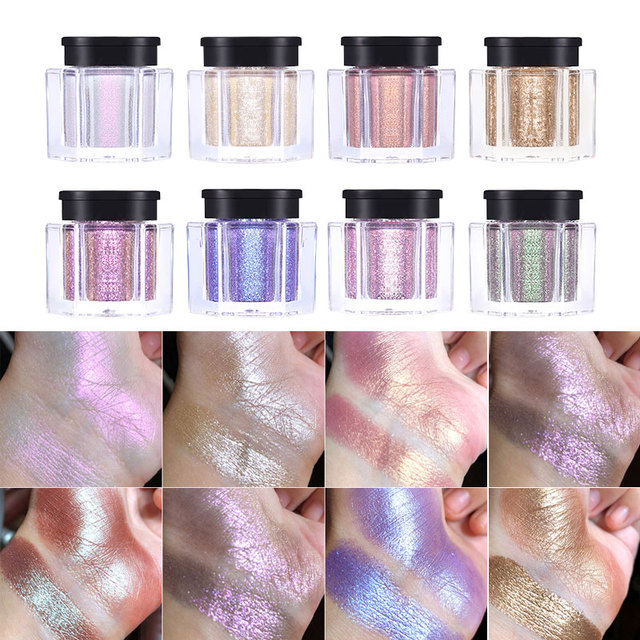UCANBE 8 Colors Holographic Glitter Duo-Chrome Eyeshadow Powder Kit Metallic Shiny Crystal Luster Eye Toppers Eyes Shadow Makeup