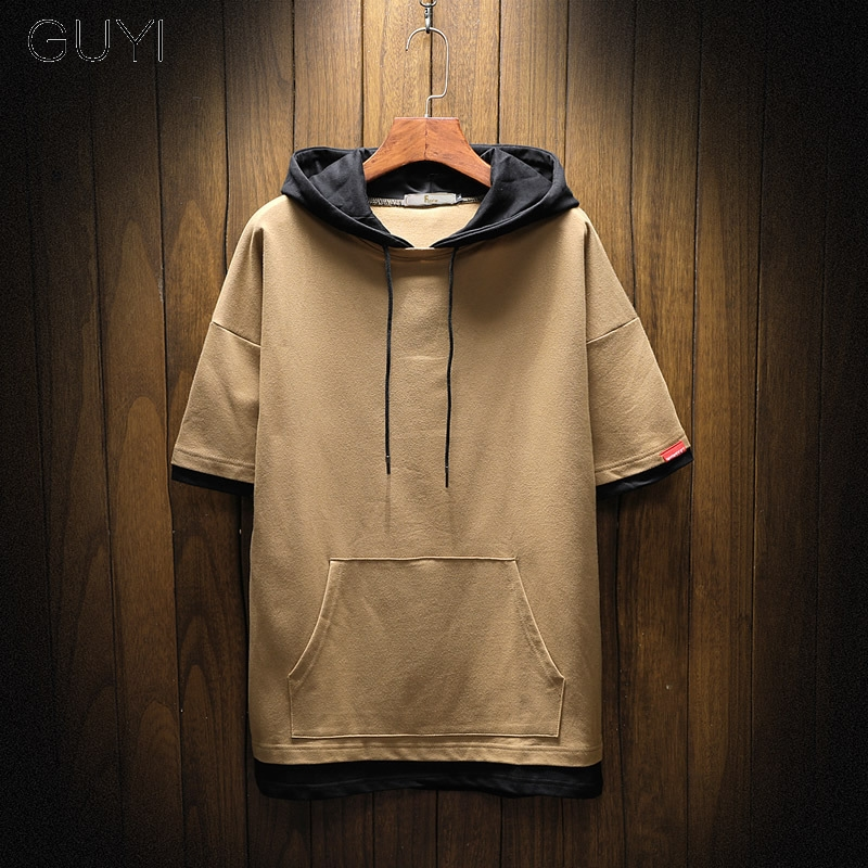 GUYI Pocket Short Sleeve Patchwork Hoodies Sweatshirts Men Hooded Casual Male Lace Up Autumn Hoodies Hip Hop Boy Pullover 2019