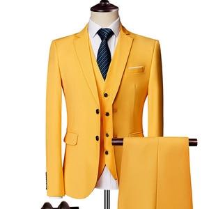 Image 2 - 純粋な色の男性のフォーマルなスーツファッションビジネスカジュアル宴会男性のスーツのジャケット + ベスト + パンツサイズ6XL 2/3ピース結婚式のためにスーツ