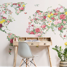 Bacaz New Blossom Design Colorful Abstract Vintage Flower World Map Wallpaper Mural for Netural Backdrop 3D Floral Wall paper