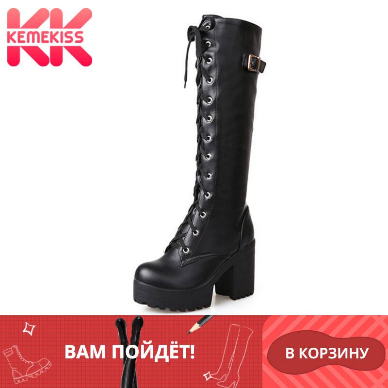 KemeKiss 2020 Plush size 34 43 Sexy high heels Knee High Boots Woman Platform Winter women's Shoes add Fur Snow Boot footwear-in Knee-High Boots from Shoes