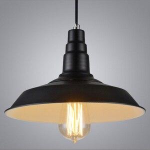 Image 5 - Vintage Hanglampen Smeedijzeren Deksel Zwart/Wit Industriële Lampen Hanger Loft Retro Opknoping Lamp Licht Armatuur