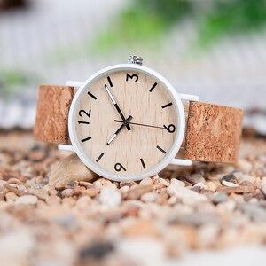 Image 2 - BOBO BIRD Stylish Wood Women Quartz Watch relogio feminin Stainless Steel Case With Cork Leather Band Thickness часы женские