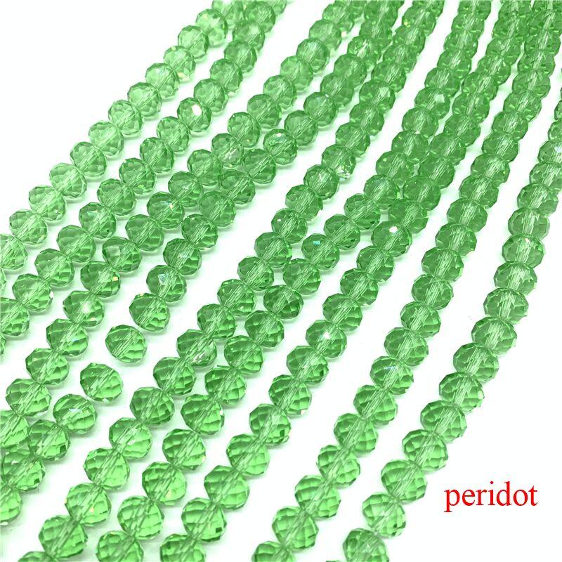 3X4/4X6/6X8/8X10 мм хрустальные бусины Рондель стеклянные бусины граненые хрустальные бусины для изготовления ювелирных изделий Аксессуары перевод Diy - Цвет: Peridot