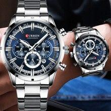 CURREN Reloj de pulsera deportivo para hombre, resistente al agua, con cronógrafo, militar, de acero inoxidable, azul, 8355