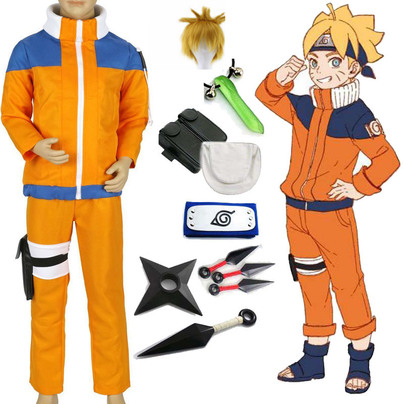 Naruto Shippuden Uzumaki Naruto 1st Cosplay Costume Kids Boys Fancy Party Uniform Outfit With Weapon Props For Halloween Costume