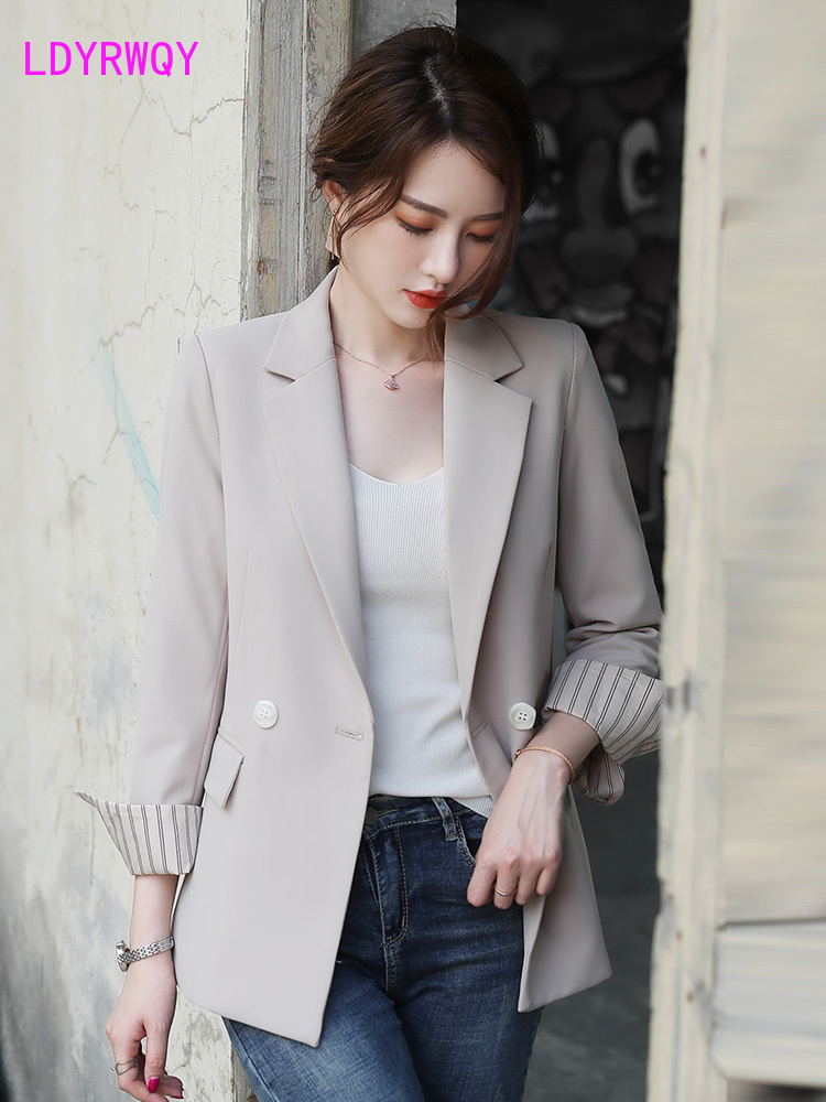 Women's 2020 New Autumn Korean Casual Wild Suit Double   Polyester  Single Breasted  Regular  Office Lady