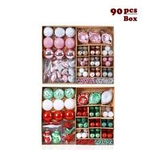 90pcs/Set Mixed Color Shaped Christmas Balls Ribbon Christmas Tree Hang Pendant Decoration For Home Party Wedding Decoration