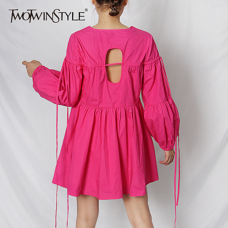 TWOTWINSTYLE Hollow Out Dresses For Women V Neck Lantern Sleeve Backless Elegant Dress Female 2020 Summer Fashion New Clothing