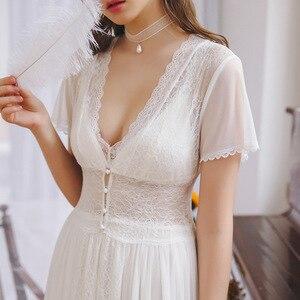 Image 4 - 2020 Hot Couple Bathrobe Female Home Robe Gown Set Bride Pajamas Transparent Kimono Sexy Cotton Nightie Lace Peignoir Sets T480