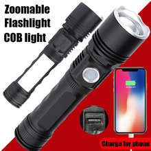Portable COB USB Flashlight Rechargeable Mini Handheld Lamp Magnet Power bank Zoomable LED Torch Waterproof 18650 Flashlight