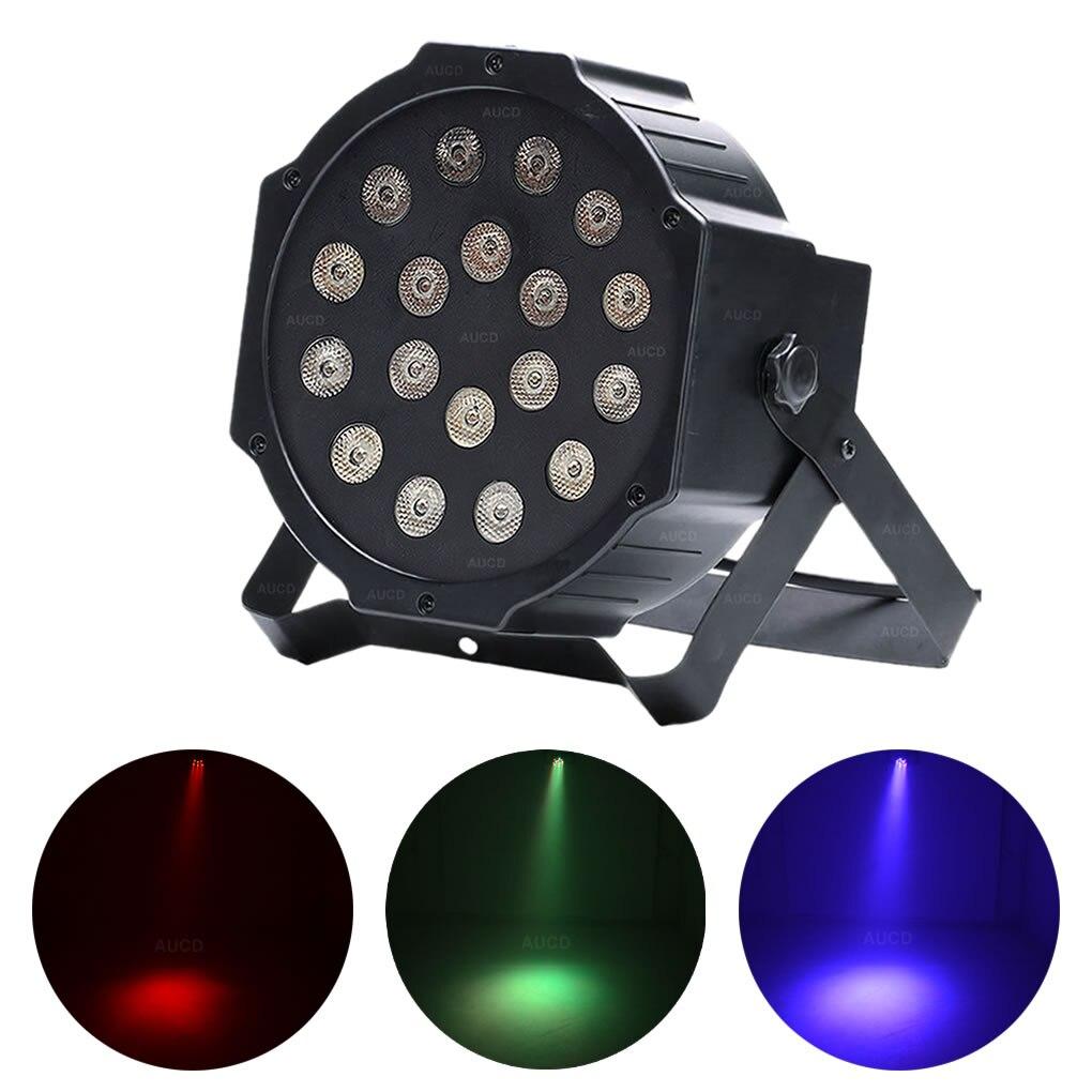 AUCD Mini Portable 18W RGB LEDs PAR Lamp DMX Beam Disco Ball Projector Spotlight DJ Party Show Stage Strobe Bar Lights LE-Par18