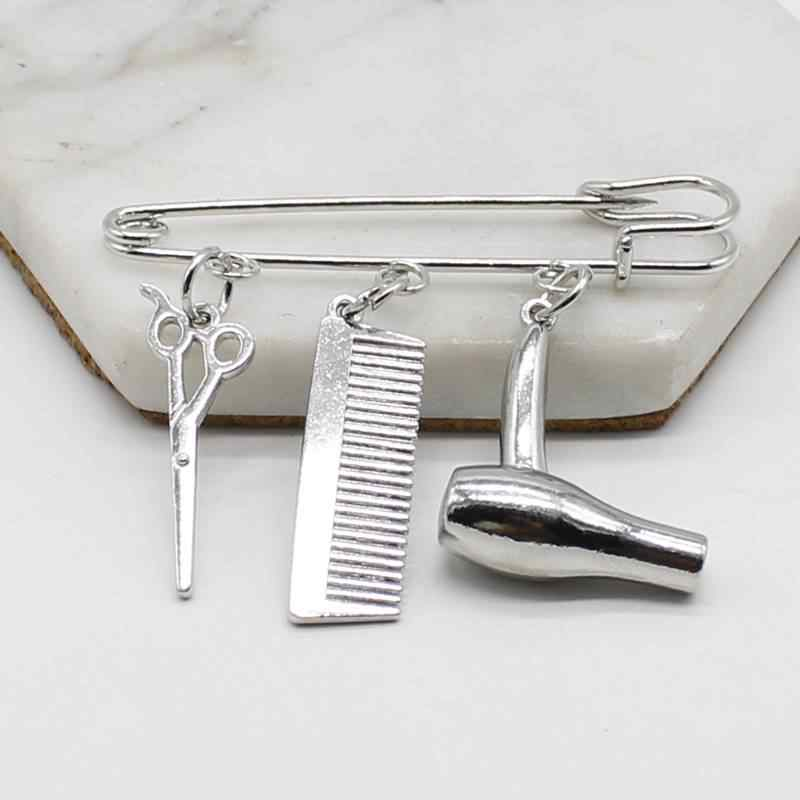 Creative Personality Hair Stylist Brooch Charm Jewelry Hairdressing Scissors Comb Pendant Washing and Cutting Brooch