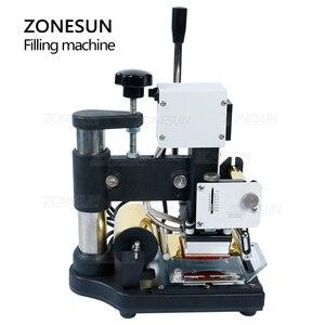 Image 2 - ZONESUN máquina de estampación en caliente de 220V/110V, cortadora de tarjetas para cuero, tarjeta de PVC + 2 gratis FO