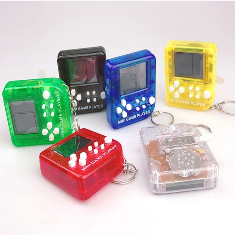 Mini Portable Classic Tetris Game Player Handheld Digital Game Console LCD Electronic Games Toys with Keychain