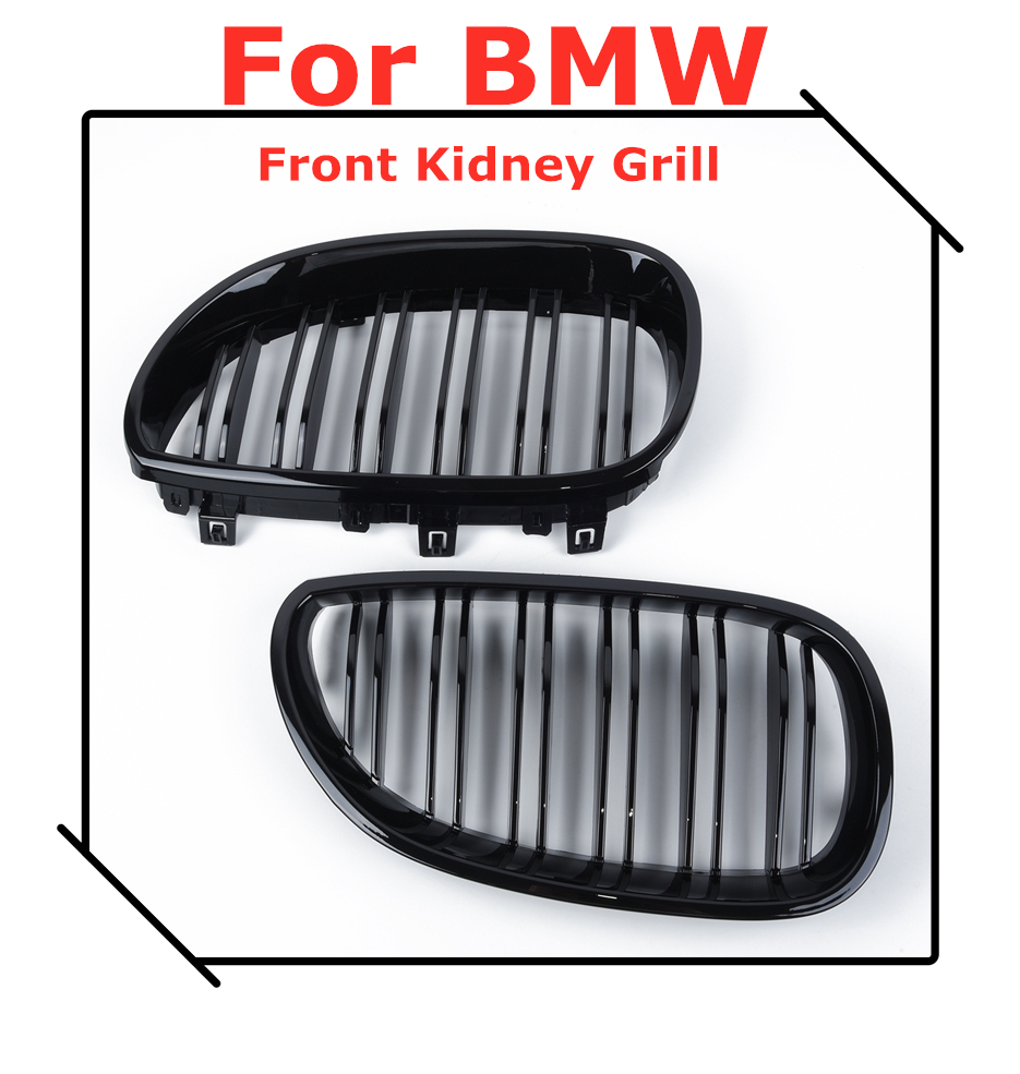 1 çift parlak siyah ön böbrek ızgara çift Slat çift hat BMW E60 E61 5 serisi 2003-2010 araba aksesuarları Coupe