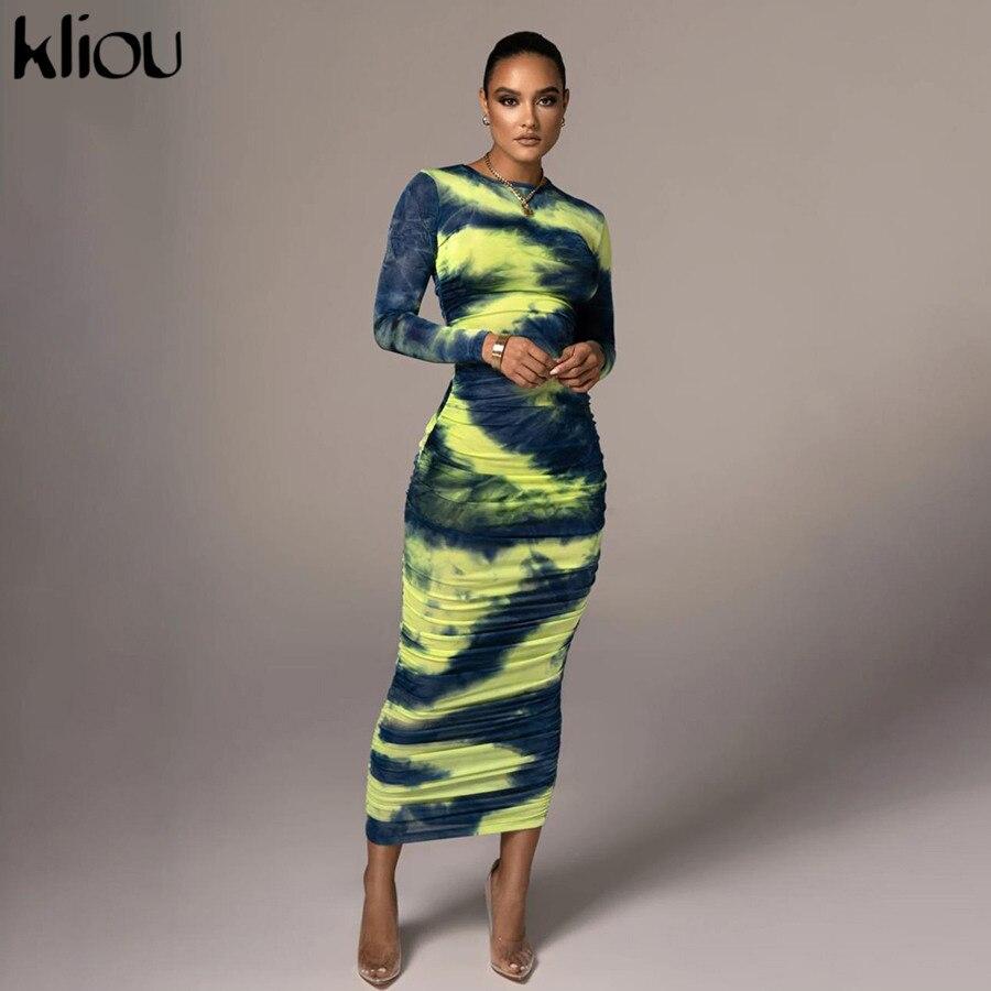 Kliou-maxivestido estampado de lazo para mujer, ropa de calle sexi, ceñido, de cintura alta, a la moda de otoño