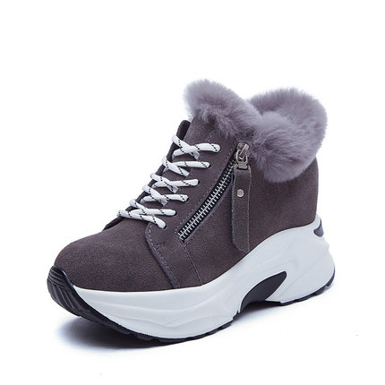 2019 new short tube snow boots women's boots increased thick platform boots winter plus velvet thick warm cotton shoes 22