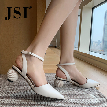 JSI Elegant Fashion Women' s Sandals Ankle Buckle Strap High Quality Cow Leather Pointed Toe Shoes Handmade Office Sandals JO476