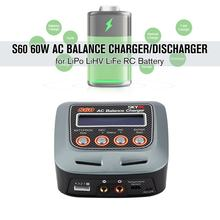 S60 60W 100-240V AC Balance Charger/Discharger untuk 2-4S Lithium Lipo Lihv life Lilon NiCd NiMH PB RC Drone Mobil(China)