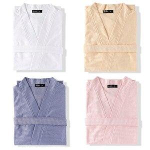 Image 5 - Taglie forti Kimono da donna accappatoio indumenti da notte lunghi Waffle sposa damigella donore abito da sposa camicia da notte Sexy Lady Solid Nightwear