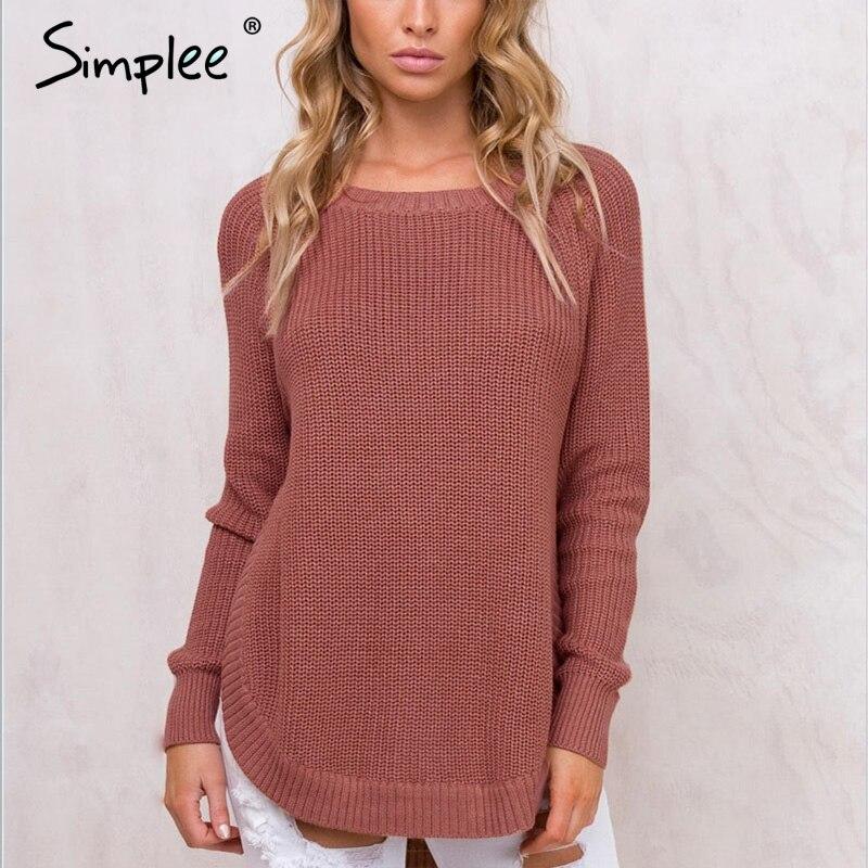 Simplee Trendy side split knitting pullover Soft autumn winter sweater women Casual streetwear warm jumper pull female 2017