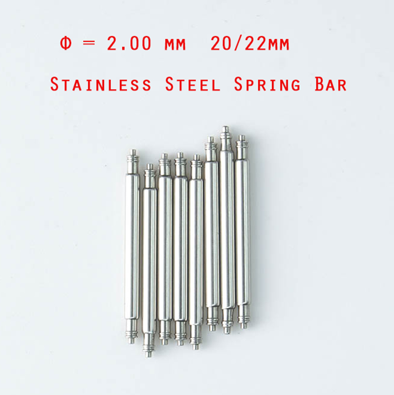 10 Pcs Diameter Φ =2mm Stainless Steel 16mm/18mm/20mm/22mm/24mm Spring Bars Pin For Diver  Watch
