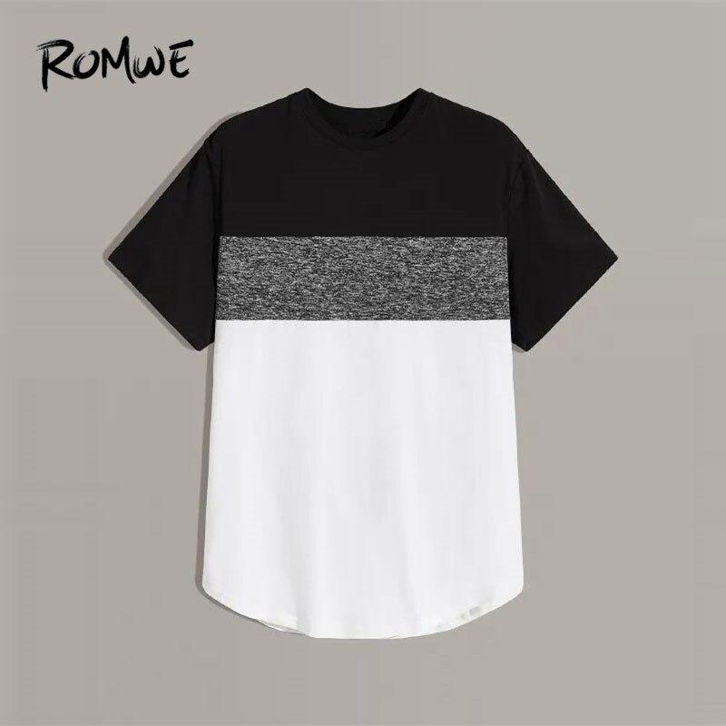ROMWE Men Marled Panel Colorblock T Shirt Sporty Short Sleeve Round Neck Summer Colorblock Tshirt 2019 Gym Clothing